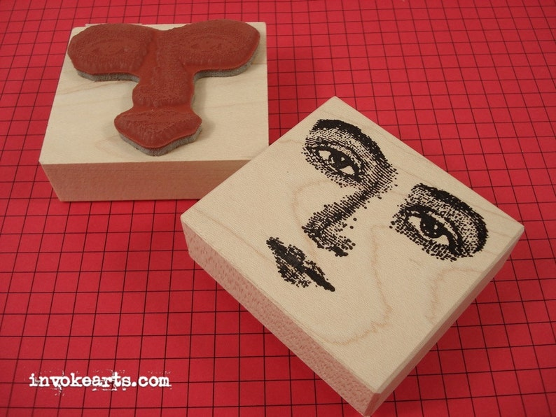 Looking-at-you Face Stamp / Invoke Arts Collage Rubber Stamps image 0