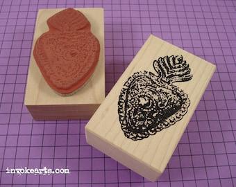Heart Milagros 1 Stamp / Invoke Arts Collage Rubber Stamps