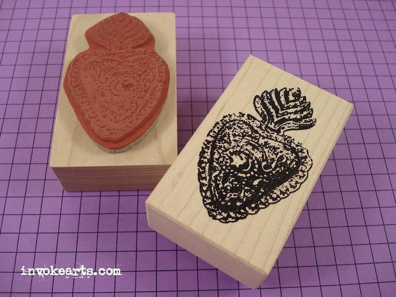 Heart Milagros 1 Stamp / Invoke Arts Collage Rubber Stamps image 0