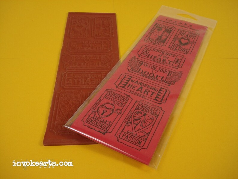 Heart Tickets / Invoke Arts Collage Rubber Stamps / Unmounted image 0
