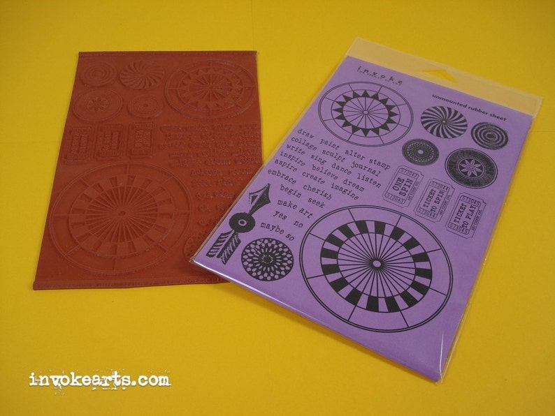 Spinner Kit / Invoke Arts Collage Rubber Stamps / Unmounted image 0