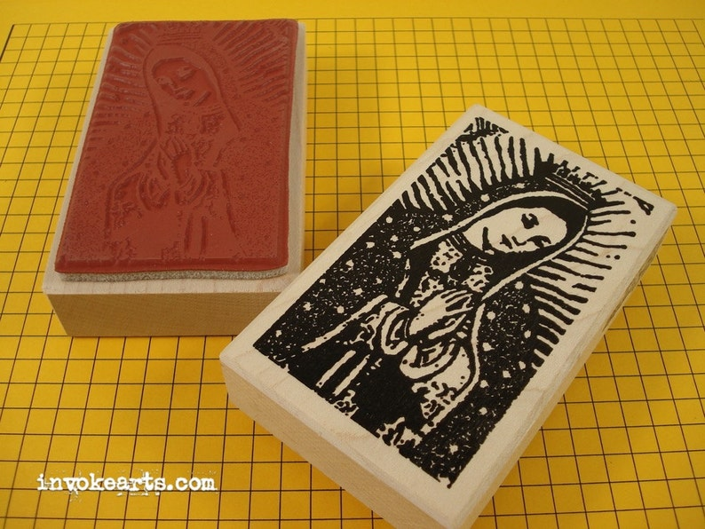 Praying Guadalupe Stamp / Invoke Arts Collage Rubber Stamps image 0
