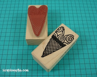 Checkered Heart Stamp / Invoke Arts Collage Rubber Stamps