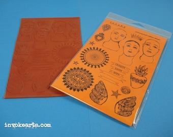 Tres Santos / Invoke Arts Collage Rubber Stamps / Unmounted Stamp Set
