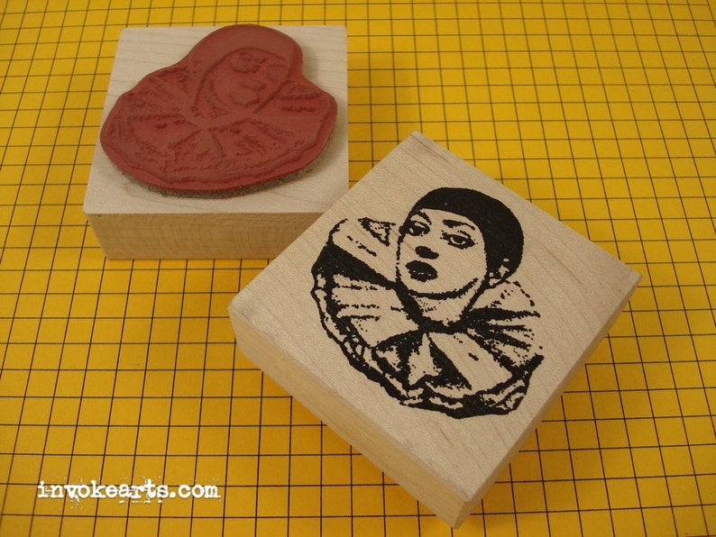 Sale / Pierrot's Head Face Stamp / Invoke Arts Collage image 0