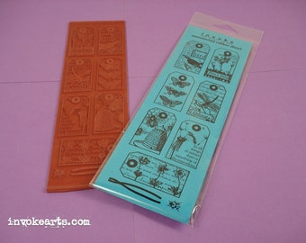Nature Tags / Invoke Arts Collage Rubber Stamps / Unmounted Stamp Set