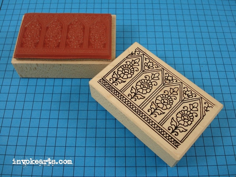 Paisley Windows Stamp / Invoke Arts Collage Rubber Stamps image 0