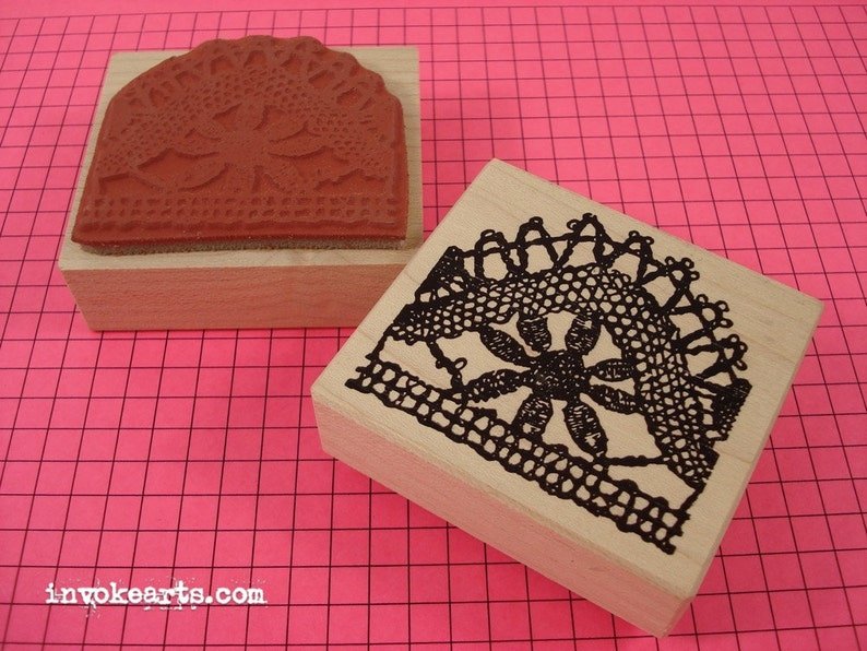 Lace Pattern 2 Stamp / Invoke Arts Collage Rubber Stamps image 0