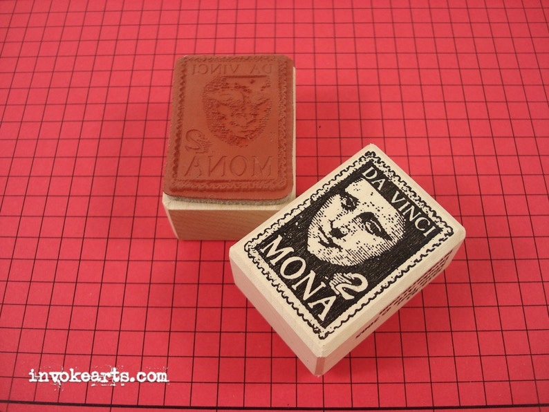 Mona Post Stamp / Postoid / Invoke Arts Collage Rubber Stamps image 0