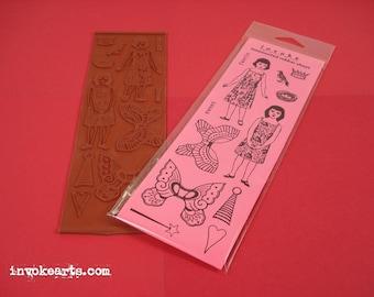 Sm Faerie Dolls / Invoke Arts Collage Rubber Stamps / Unmounted Stamp Set
