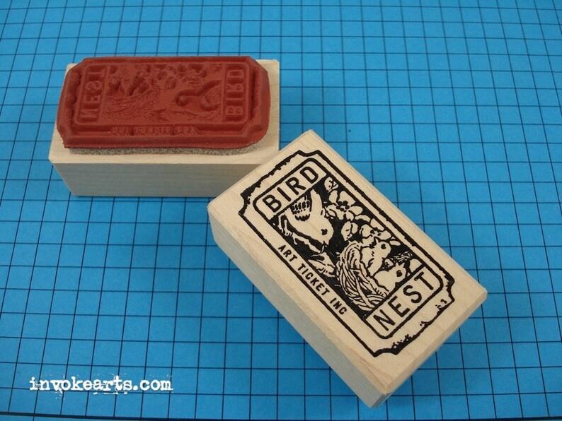 Bird Nest Ticket Stamp / Invoke Arts Collage Rubber Stamps image 0