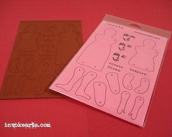 Plain Jane & Friends Paper Doll / Invoke Arts Collage Rubber Stamps / Unmounted Stamp Set