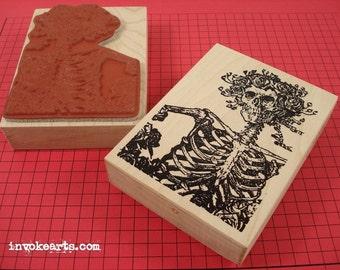 Catrina Card Stamp / Invoke Arts Collage Rubber Stamps
