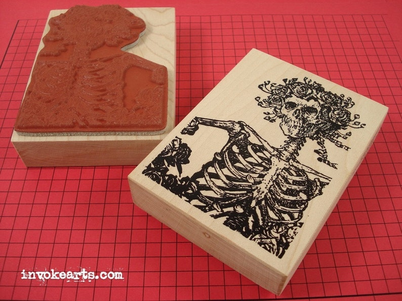 Catrina Card Stamp / Invoke Arts Collage Rubber Stamps image 0