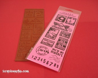Artpost 9 / Invoke Arts Collage Rubber Stamps / Unmounted Stamp Set