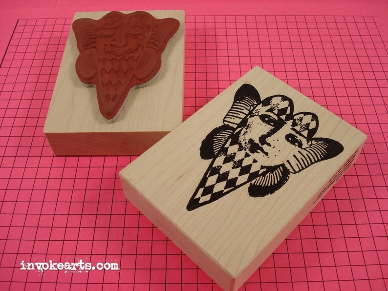Diamond Heart Face Stamp / Invoke Arts Collage Stamps image 0