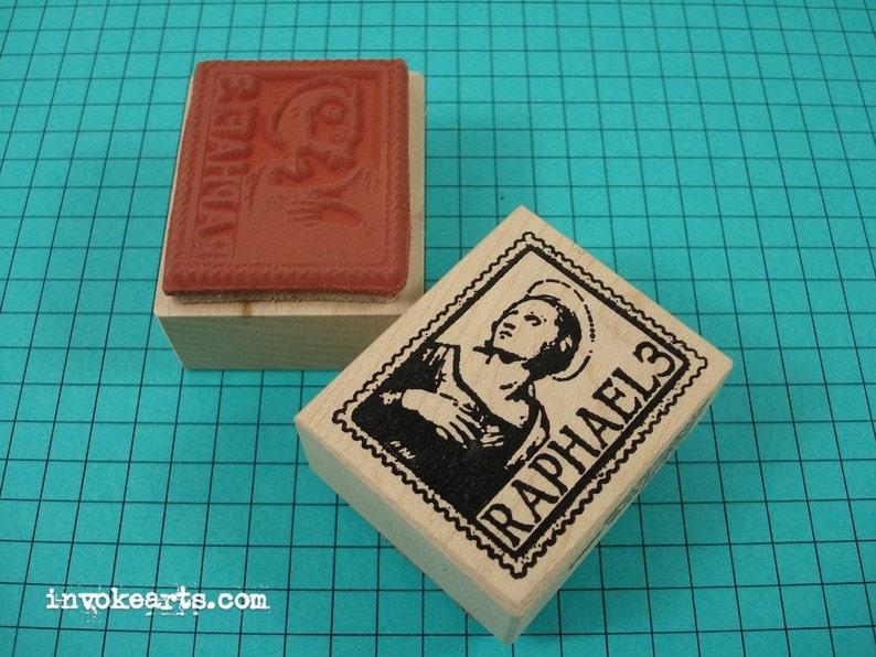 Raphael Post Stamp / Postoid / Invoke Arts Collage Rubber image 0