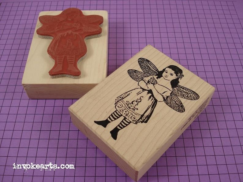 Deidra Dragonfly Girl Stamp / Invoke Arts Collage Rubber image 0