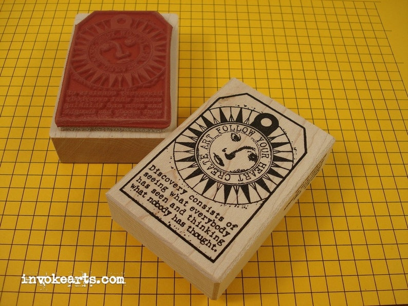 Discovery Tag Stamp / Invoke Arts Collage Rubber Stamps image 0