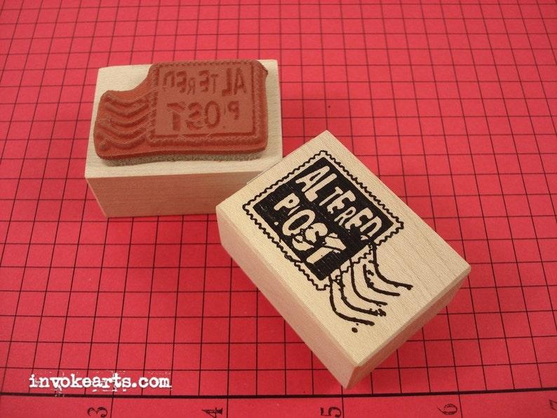 Altered Post Stamp / Postoid / Invoke Arts Collage Rubber image 0