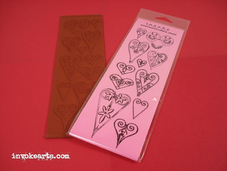 Sale / Victorian Hearts / Invoke Arts Collage Rubber Stamps / image 0