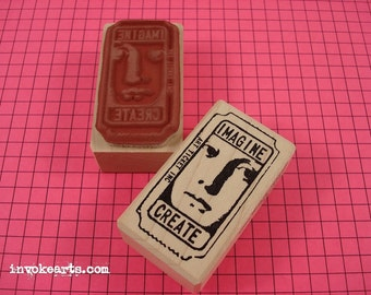 Face Ticket Stamp / Invoke Arts Collage Rubber Stamps