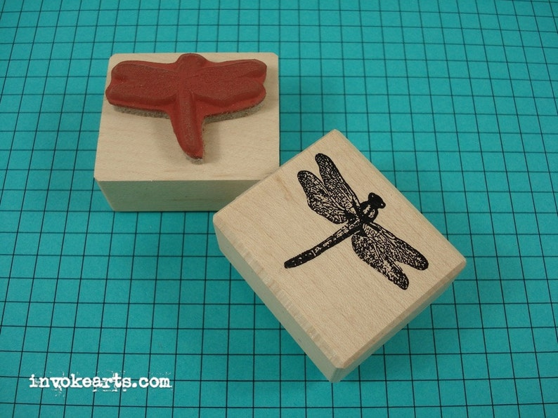 Small Dragonfly Stamp / Invoke Arts Collage Rubber Stamps image 0