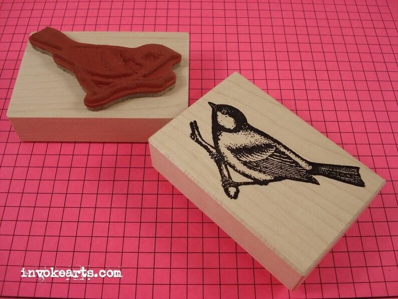 Wren Bird Stamp / Invoke Arts Collage Rubber Stamps image 0