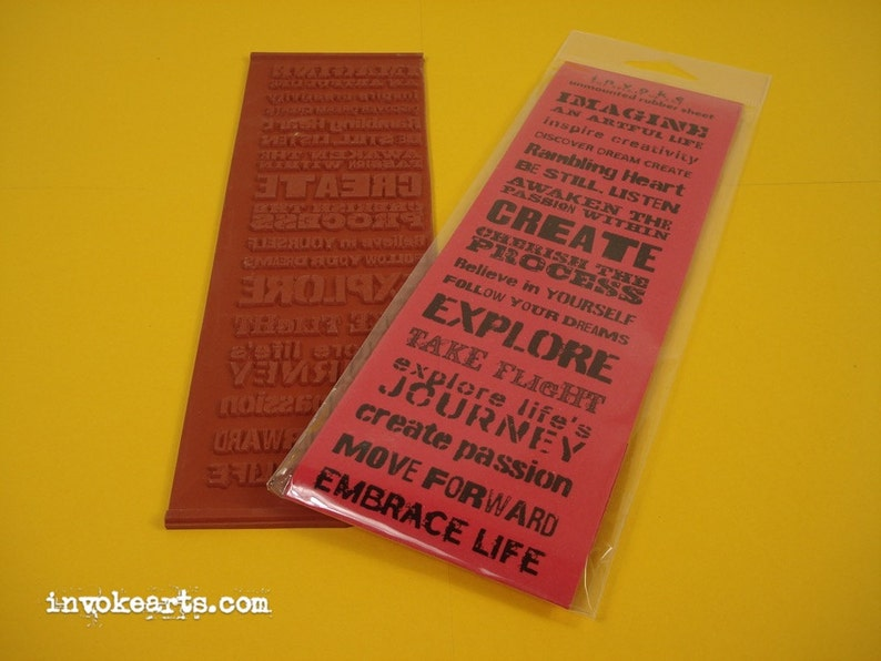 Stencil Words / Invoke Arts Collage Rubber Stamps / Unmounted image 0