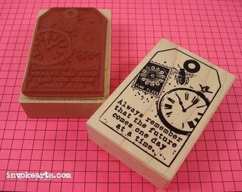 Time Flies Tag Stamp / Invoke Arts Collage Rubber Stamps
