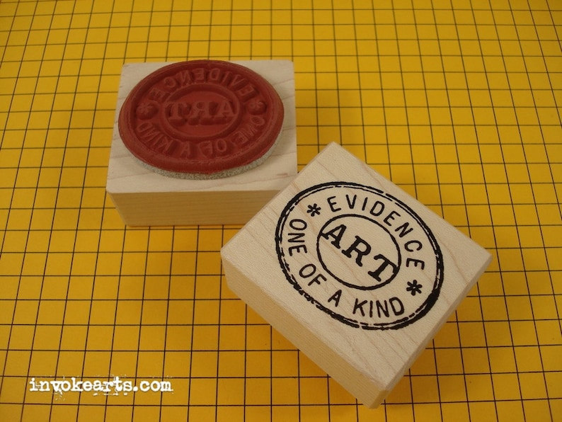 Art Cancellation Stamp / Invoke Arts Collage Rubber Stamps image 0