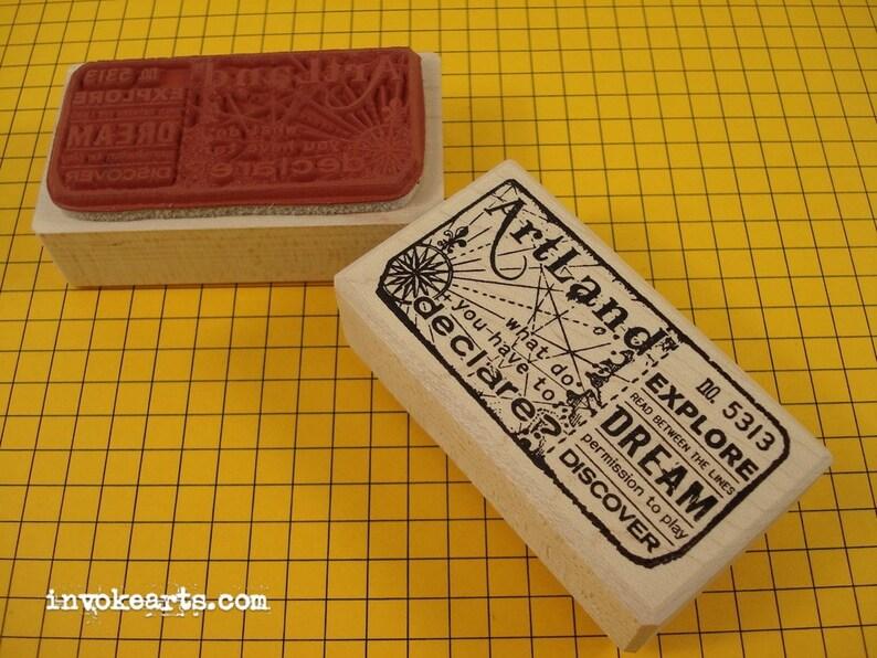 Artland Ticket Stamp / Invoke Arts Collage Rubber Stamps image 0
