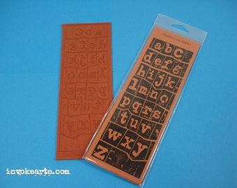 Grungy Letters Reverse Alphabet Unmounted Stamp / Invoke Arts Collage Rubber Stamps