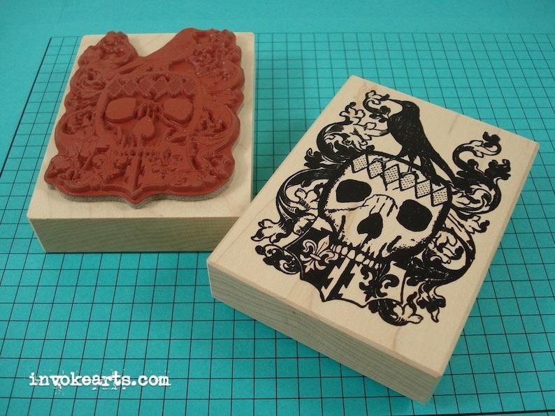 Crow Skull Herald Stamp / Invoke Arts Collage Rubber Stamps image 0