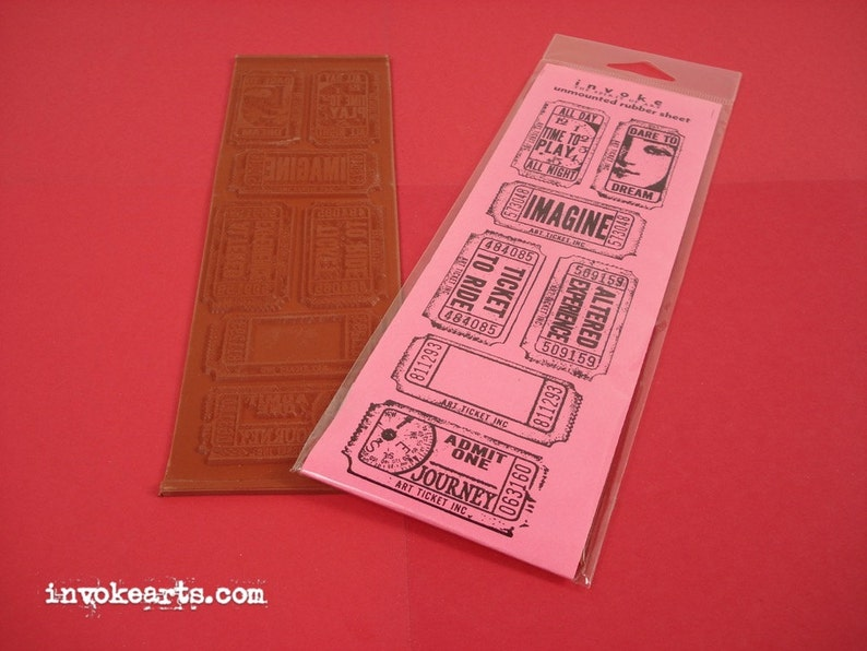 Art Tickets / Invoke Arts Collage Rubber Stamps / Unmounted image 0