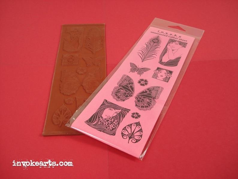 Art Nouveau  / Invoke Arts Collage Rubber Stamps / Unmounted image 0