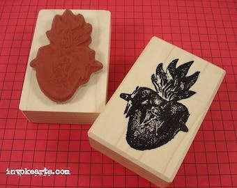 Heart Milagro 2 Stamp / Invoke Arts Collage Rubber Stamps