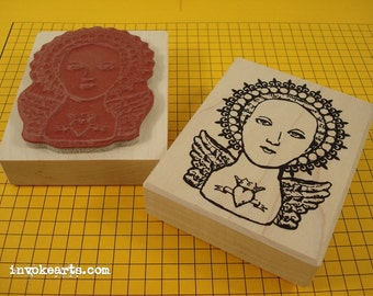 Heart and Crown Saint Stamp / Invoke Arts Collage Rubber Stamps