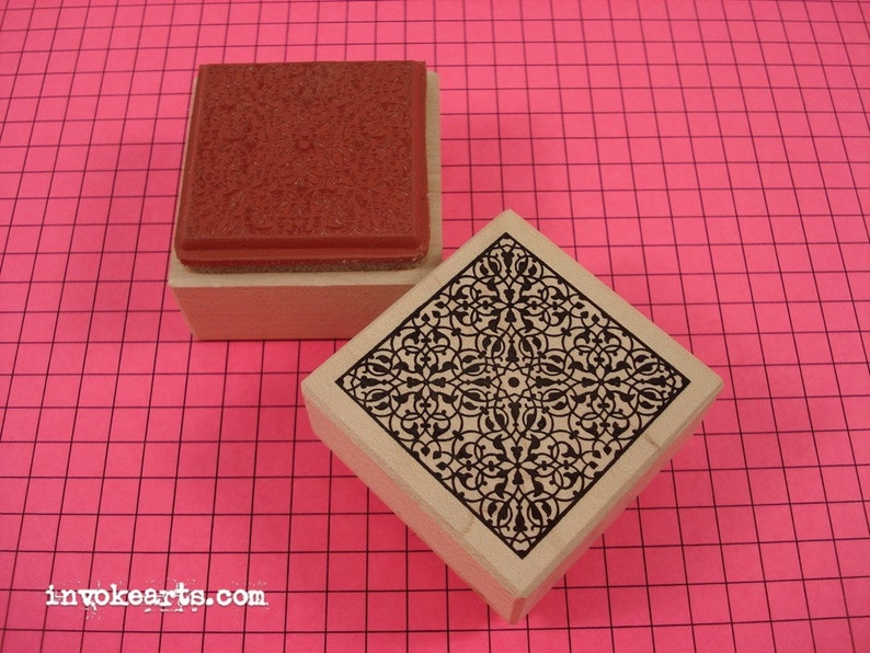 Lace Square Stamp / Invoke Arts Collage Rubber Stamps image 0