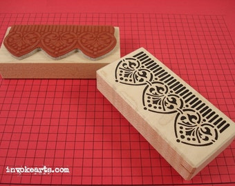 Striped Mosaic Border Stamp / Invoke Arts Collage Rubber Stamps