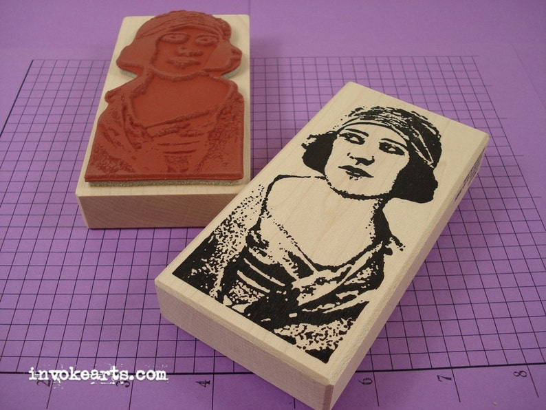 Roxana Face Stamp / Invoke Arts Collage Rubber Stamps image 0