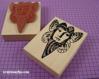 Swirl Heart Face Stamp / Invoke Arts Collage Rubber Stamps