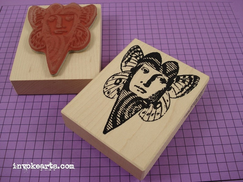 Swirl Heart Face Stamp / Invoke Arts Collage Rubber Stamps image 0