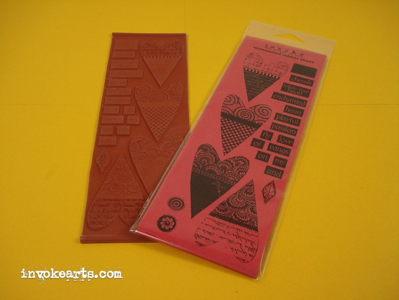 Heart Pieces / Invoke Arts Collage Rubber Stamps / Unmounted image 0