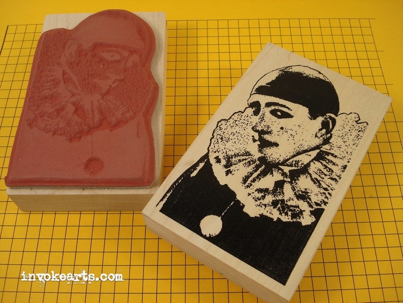 Pierrot Photo Face Stamp / Invoke Arts Collage Rubber Stamps image 0