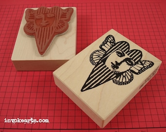 Striped Heart Face Stamp / Invoke Arts Collage Rubber Stamps