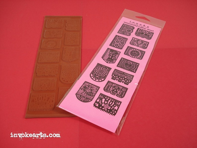 Papel Picados / Invoke Arts Collage Rubber Stamps / Unmounted image 1