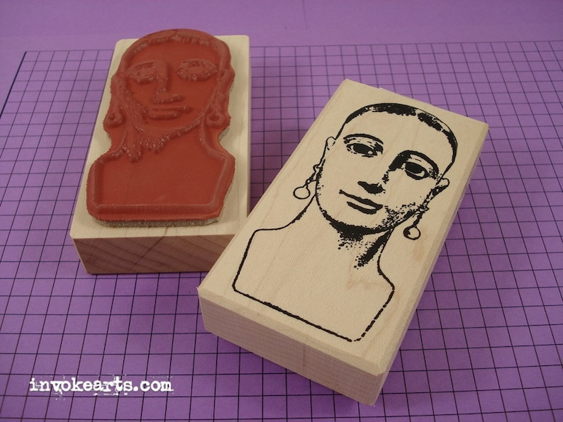 Santa Clara Face Stamp / Invoke Arts Collage Rubber Stamps image 0