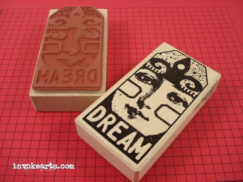 Dream Tag Stamp / Invoke Arts Collage Rubber Stamps image 0