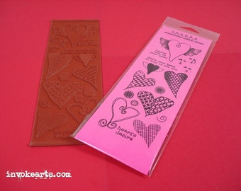 Whimsical Hearts / Invoke Arts Collage Rubber Stamps / Unmounted Stamp Set